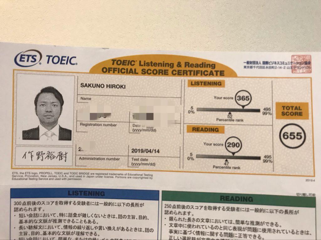 TOEIC 2019/04/14受験結果